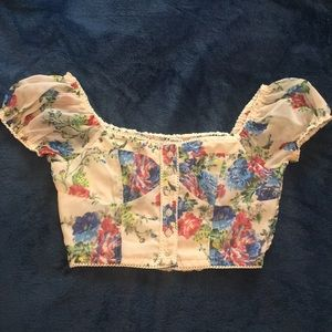 Floral blouse style crop top